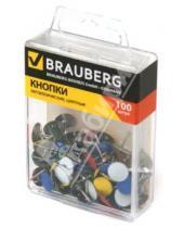 Картинка к книге Brauberg - Кнопки канцелярские металлические цветные, 100 штук (221114)