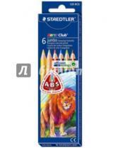 Картинка к книге Карандаши цветные - Карандаши цветные трехгранные Noris Club Jumbo (6 цветов)