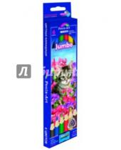 """Картинка к книге Феникс+ - Карандаши цветные """"Jumbo. Котенок"""" (6 цветов, трехгранные, точилка) (32858-24)"""